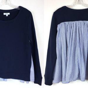 Kensie Jeans   Navy sweatshirt top striped back M